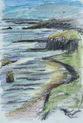 gina_wright_cliffs_at_dunure_ayrshire_watercolour_wax_pastel_sketch.jpg