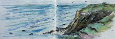gina_wright_portpatrick_cliffs_watercolour_wax_pastel_sketch.jpg