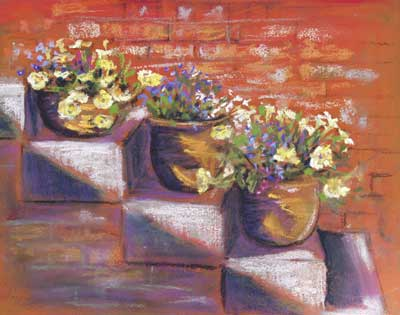 gina_wright_flower_pots_on_steps_mixed_media.jpg