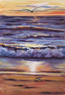 gina_wright_waves_at_sunset_acrylic_and_pastel.jpg