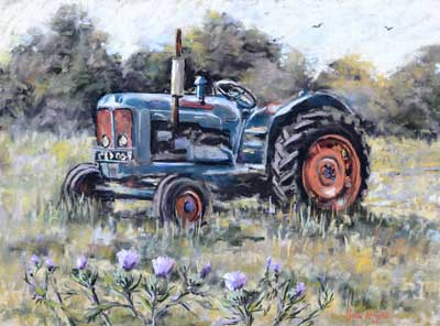 gina_wright_tractor_and_thistles_pastel