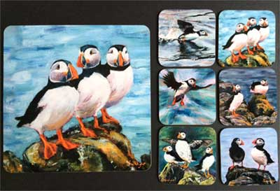 gina_wright_puffin_coasters_and_placemat